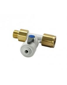 Vanne d'arrêt avec clapet anti retour filetage M/F 1/2 pouce BSP cyl x tube 1/4 pouce (6.35 mm) John Guest